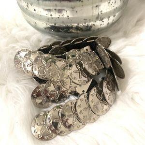 Vintage Silver Coin Belt Stretch  Metal Starfish